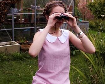 pink cotton peter pan collar shift dress 60s mod indie moonrise kingdom