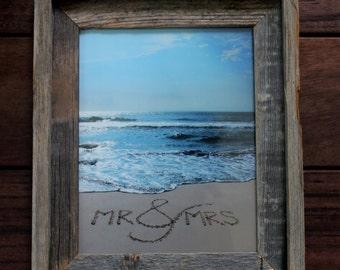 Mr. & Mrs. Sand Writing - wedding gift, bride and groom, beach wedding, beach writing