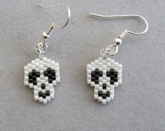 Tiny Beaded Skull Earrings for Halloween