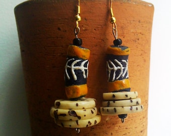 ATIN African blue yellow white krobo recycled glass raffia palm nut earrings by Fianaturals