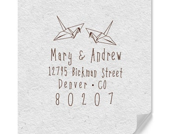 Origami Stamp - Personalized Address Stamp - DIY Addressing - Wedding - Housewarming - Personalized Gifts - Custom Address Stamp - Japanese