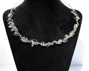 Crocheted Sterling Silver Necklace
