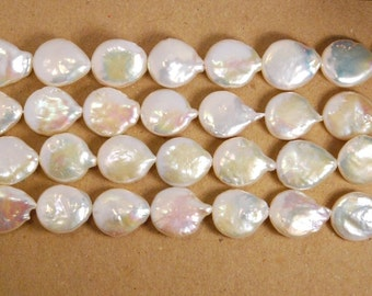 10 pieces: freshwater coin pearl with tails,  big size, 16X13 mm, grade AA, natural white color