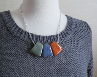 Paon - One Color Block Statement Necklace Multicolor Jade Purple Terracotta Handmade Finish with Silver Aluminum Chain by InfinEight