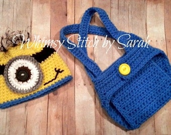 Minion Outfit -- Photo Prop Set -- Hat Diaper Cover Overall Suspenders -- Made to Order