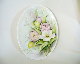 Hand painted plate, oval  bone china plate, oval, tulips