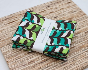Large ORGANIC Cloth Napkins - Set of 4 - (N1779) - Teal Aqua Leaves Modern Reusable Fabric Napkins