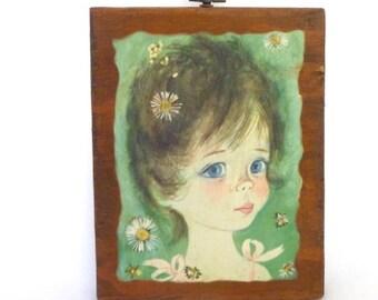 Vintage BIG EYED GIRL decoupage Art
