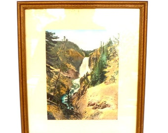 RARE Original YELLOWSTONE PHOTOGRAPH by Haynes/ Great Falls/ Vintage Nature Photography