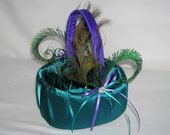 Peacock Wedding Flower Girl Basket, Dark Teal and Royal Purple With Peacock Eye Feathers and a Crystal Center