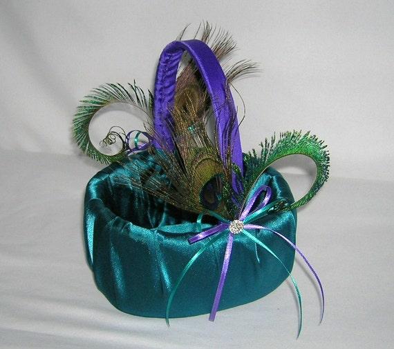 Flower Girl Baskets Peacock : Peacock wedding flower girl basket dark teal and royal purple