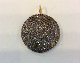 Pave Diamond Coin Pendant