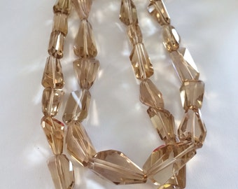Champagne Quartz Faceted Nuggets-Graduated