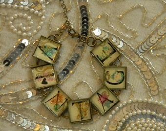 Spell out Vintage Bracelet with Bezels