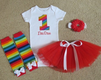 1st Birthday Girl Outfit, Rainbow First Birthday Number One Personalized Bodysuit, Red Tutu, Rainbow Headband, 1st 2nd Party Outfit