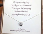 CZ star necklace, silver or gold solitaire cubic zirconia star, maid of honor sister, gift bridesmaid gift, flower girl, everyday jewelry