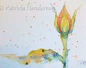 """Language of Flowers Original ACEO Peach Rose Bud """"Modesty"""" watercolor"""