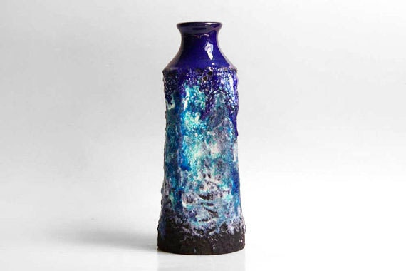 Vintage Blue Lava Vase - Roth 60s
