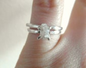 Raw Rough Diamond - Solitaire- promise-alternative-one of a kind wedding ring set-hand hammered