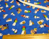 It's The Great Pumpkin Charlie Brown Tossed Characters Blue Halloween Fabric by Quilting Treasures - snoopy, charlie brown, lucy, linus