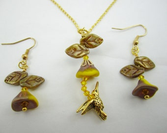 Clearance Sale!!  Hummingbird Necklace Set Yellow Taupe Bronze Czech Flower Under 15 Gift
