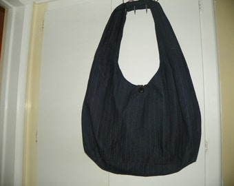 Purse Hobo Style Fabric Navy with Pinstipes Extra Large Hand Made One of a Kind