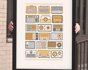 Retro Radios Vintage Poster
