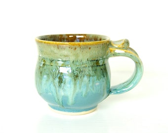 Mug, Coffee Cup, Wheel Thrown, Blue and Brown