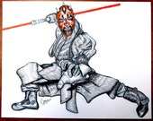 Original Drawing - Star Wars DARTH MAUL Original Art, 8.5x11 Pen and Ink