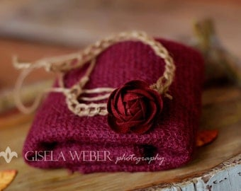 Newborn Tieback, Small Baby Headband, Newborn Knit Wrap, Newborn Halo, Baby Headband, Maroon Knit Wrap, Newborn Photo Prop, Baby Halo