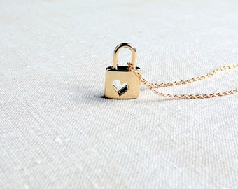 Gold Heart Lock Necklace Tiny Charm Necklace Love Necklace Small Delicate Necklace  Gold Heart Cutout Lock Necklace Bridesmaid Gift For Her