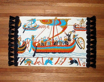 Medieval Rug, Bayeux Tapestry Detail, Dollhouse Miniature 1/12 Scale, Hand Made