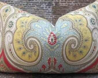 Designer Lumbar  Pillow Cover - Lumbar, 16 x 16, 18 x 18, 20 x 20  Latika Ikat Festival BY