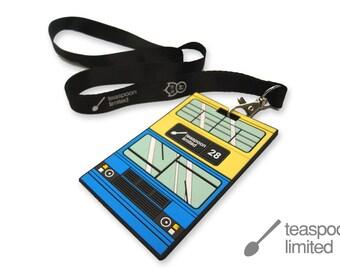 Blue Bus Hang Tag  (a bus tag with lanyard)