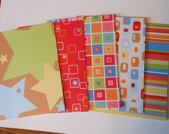 Set of 5 Bright Basic Blank Notecards with Envelopes #9124
