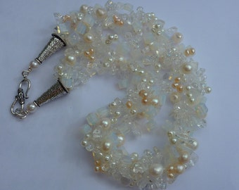 Crocheted necklace: bridal mix containing moonstone, freshwater pearls, rock crystal and other quality beads for wedding or prom