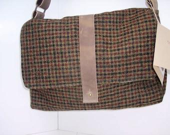 Repurposed  wool plaid Messenger Bag, computer travel bag,  Shoulder Bag, Courier Bag, Satchel, Recycled