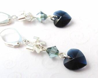 Dark Blue Heart and Bow Earrings, Navy Blue Heart Earrings, Swarovski Elements Crystal Heart Dangle Earrings