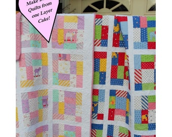 Quilt Pattern - Sleep Tight Sweet & Bright Layer Cake Pattern Easy PDF INSTANT DOWNLOAD