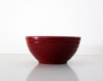 1930s Meyers California Rainbow pottery bowl, burgundy kitchen bowl