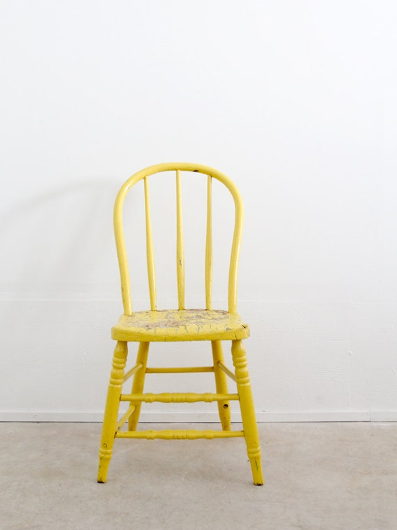 Vintage spindle back chair painted wood dining