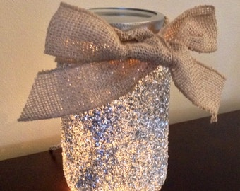 Glitter Lighted Mason Jar Lamp, Mason Jar Light, Mason Jar Lamp, Mason Jar Night light