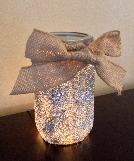 Glitter Lighted Mason Jar Lamp Mason Jar Light Mason Jar
