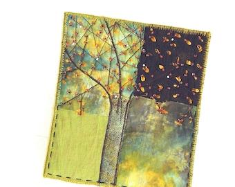 Spring Tree Mini Textile Art ready to frame