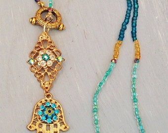 Gold Hamsa Hand Pendant Necklace - Turquoise Blue, Teal and Gold Glass Beads - Long Necklace