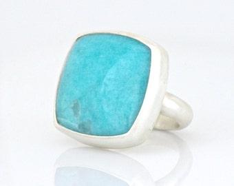 Sky-Blue Amazonite Ring in Sterling