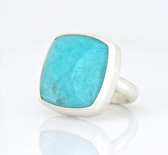 Sky-Blue Amazonite Ring in Sterling