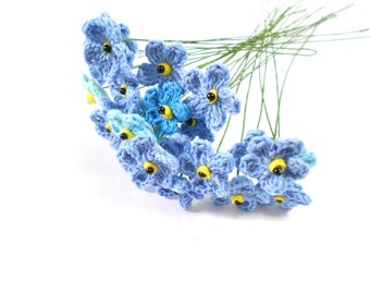 10 crochet flowers 2.5 cm, stem 22 cm,  Think-of-me Forget me not flower, set of 10, to order
