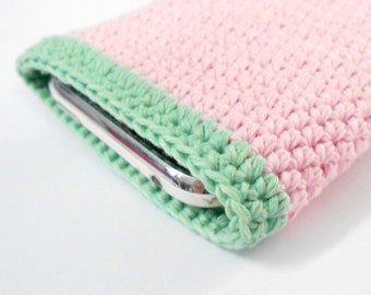 SALE Phone sleeve sand, pink, lime green Crochet, size iPhone 5 case cover Cotton Yarn