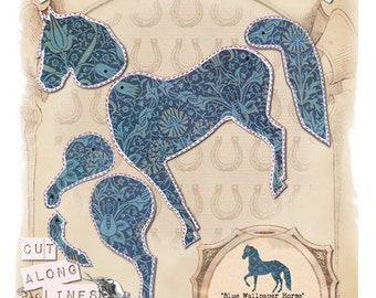 Make your own paper puppet - Blue Wallpaper Horse